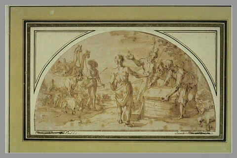 Les frères de Joseph levant la pierre de la citerne où il a été enfermé