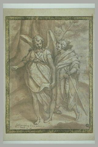 Le jeune Tobie et l'ange Raphaël marchant