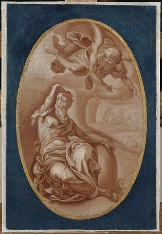 L'ange apparaissant à Joseph pour l'avertir de fuir en Egypte