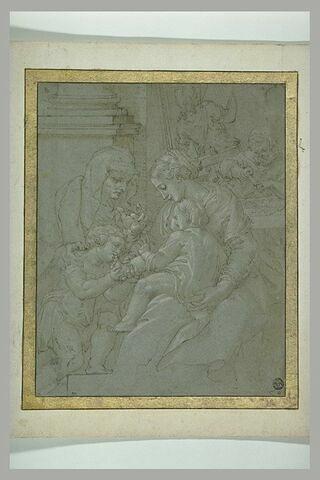 La Vierge, l'Enfant, saint Jean, sainte Elisabeth, saint Joseph travaillant