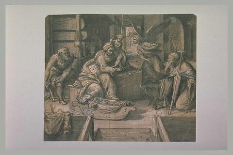 Sainte Conversation avec saint Antoine abbé et un ange