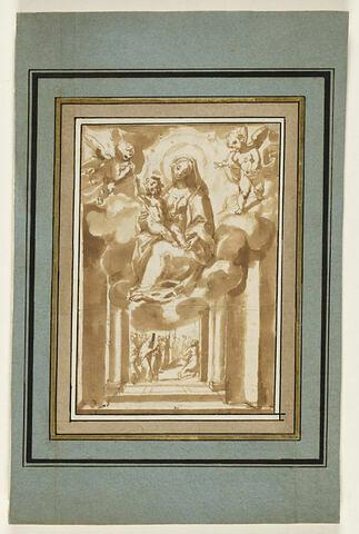 Apparition de la Vierge avec l'Enfant Jésus sur des nuages à des priants