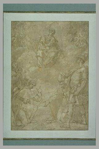 Un évêque et trois saints adorant la Vierge à l'Enfant entourée d'anges