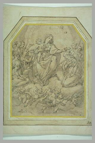 La Vierge à l'Enfant couronnant une sainte martyre devant d'autres martyres