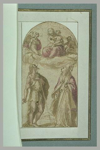 La Vierge à l'Enfant entourée d'anges adorée par saint Jean et un évêque