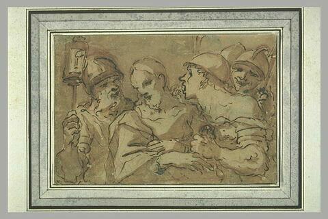 Le Christ entouré de quatre soldats