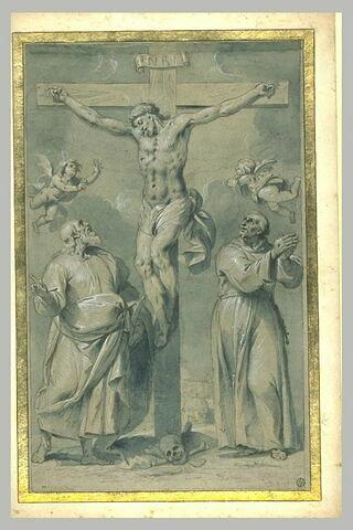 Saint Barthélémy et saint François d'Asssise au pied de la Croix