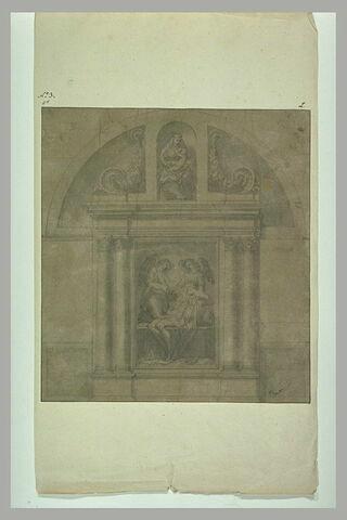Projet d'autel (?) : Vierge à l'Enfant et Christ enseveli par des anges