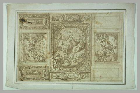 Etude pour un plafond, avec le Couronnement de la Vierge