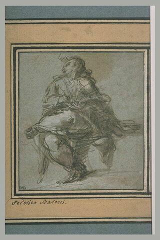 Evangéliste assis écrivant sur ses genoux