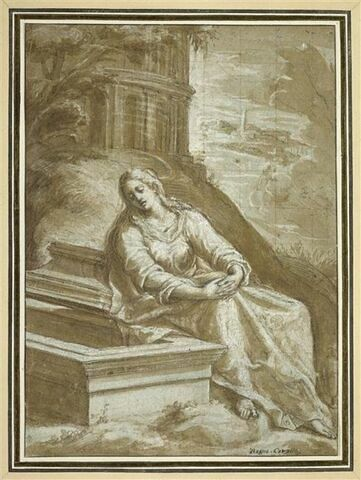 Sainte Madeleine assise près du tombeau