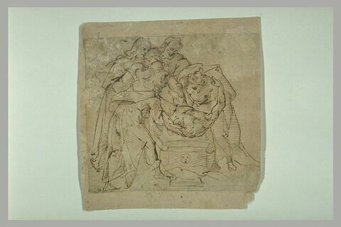 Mise au tombeau d'un martyr décapité (saint Jean-Baptiste ?)