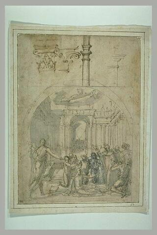 Saint Dominique ressuscite le maître de chantier de S. Sisto à Rome ; études de chapiteaux
