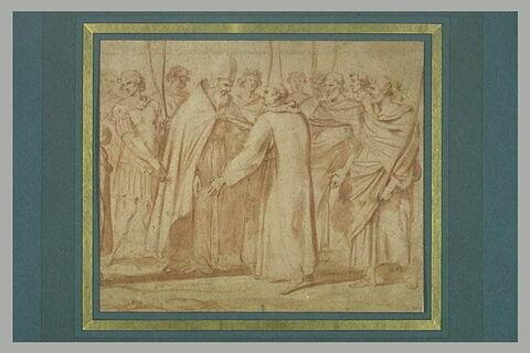 Rencontre d'un moine (saint Laurent ?) et d'un pape