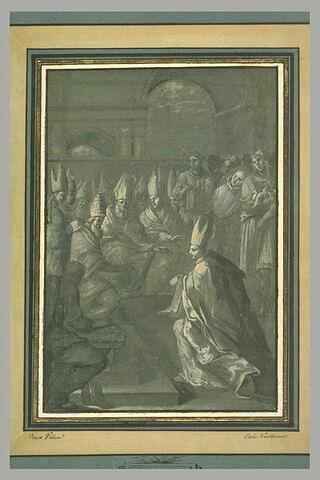 Pape recevant la procédure pour la canonisation d'un saint religieux