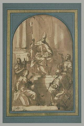 Saint Nicolas trônant devant quatre saints