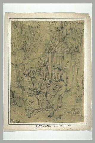 Evêque rendant visite à un saint ermite