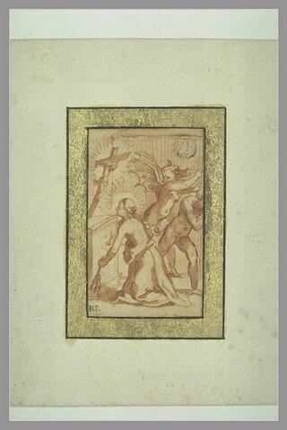 Sainte Catherine de Sienne, se flagellant, mettant les démons en fuite