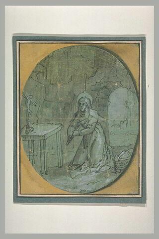 Sainte Thérèse se macérant le corps, dans une grotte