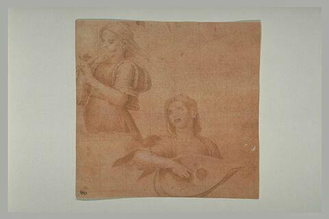 Deux anges musiciens jouant de la flûte et du luth