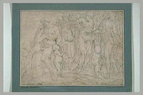 Hercule endormi visité par des déesses accompagnées d'enfants