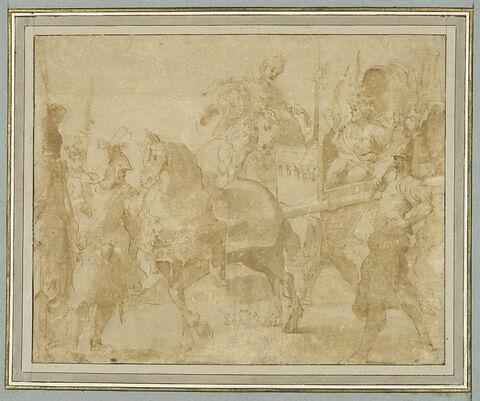 Général blessé, sur une littière, entouré de ses officiers