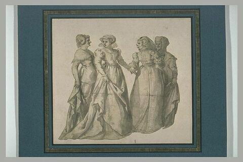 Quatre figures de femmes debout paraissant représenter des caricatures