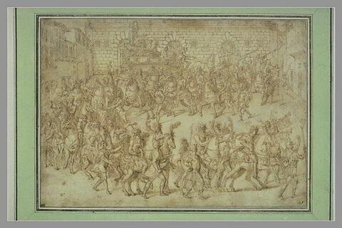 Cortège de fête devant le Palais Pitti, à Florence