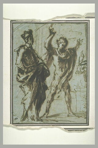 Deux hommes devant le foyer d'un sacrifice