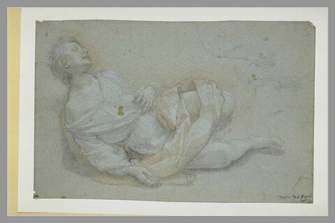 Jeune homme allongé, endormi, et reprises de la main droite