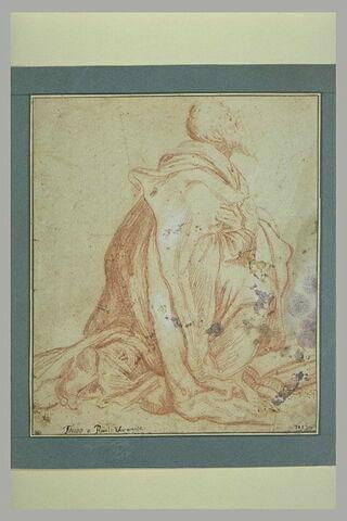 Etude d'une figure d'évangéliste à genoux, tourné vers la droite, les mains croisées sur la poitrine