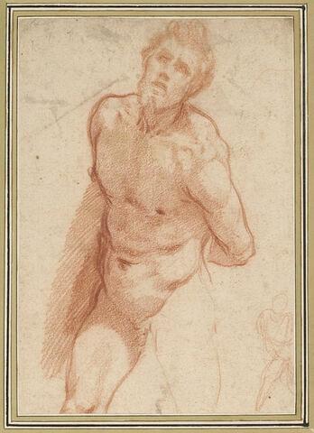 Homme nu, à mi-corps, les mains derrière le dos ; esquisse de la même figure