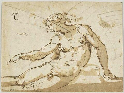Homme nu, à demi-étendu
