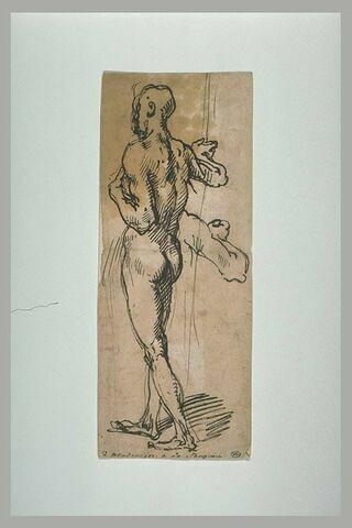 Homme nu, debout, tenant une pique, et reprise du geste du bras droit