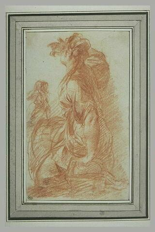 Femme assise, de profil vers la gauche, la main devant les yeux