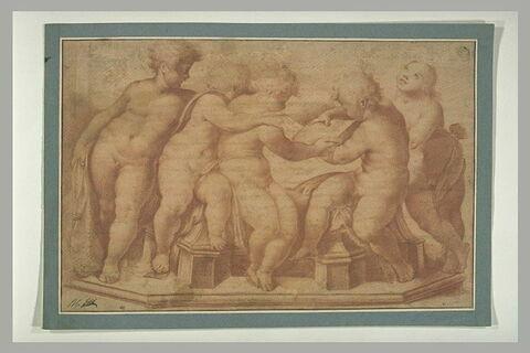 Cinq enfants nus, étudiant la musique