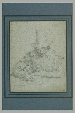 Demi-figure d'homme, assis, dessinant