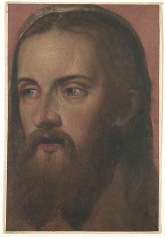 Tête d'homme aux cheveux longs et barbu, peut-être pour le Christ