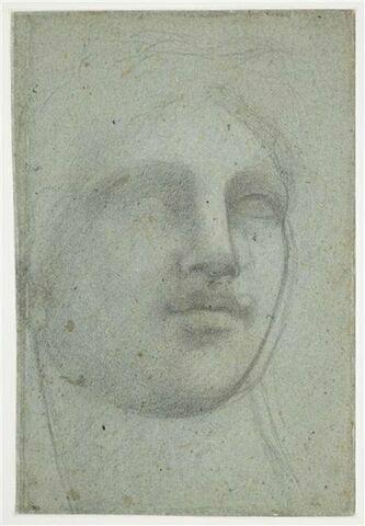 Tête de femme, de face, regardant vers la droite