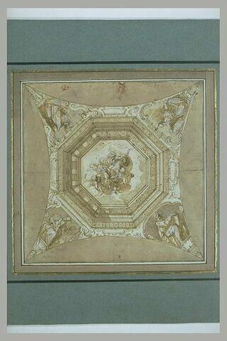 Etude pour un plafond octogonal, avec, au centre, Dieu sur les nuées