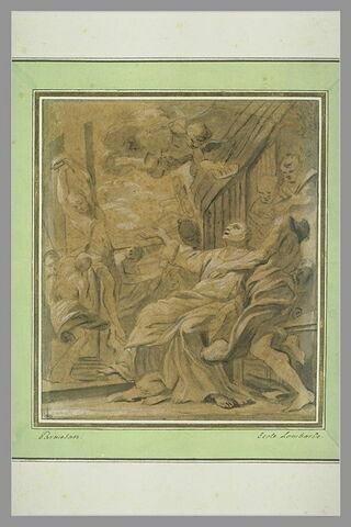 Martyre d'un saint lié à une colonne les deux bras en l'air
