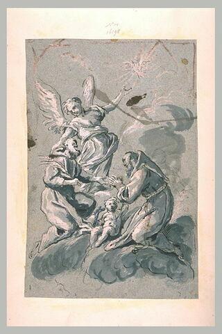 Enfant Jésus adoré part un saint et un martyr, ange, colombe du saint-esprit