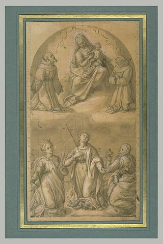 Vierge à l'Enfant entre deux saints franciscains, au-dessus de trois saintes