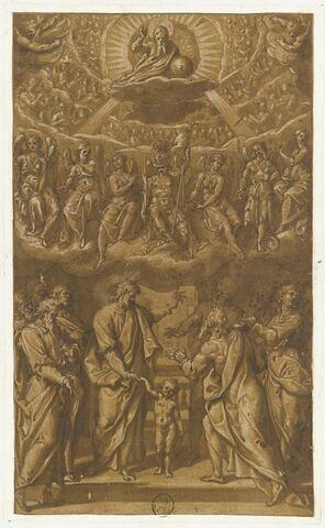 Le Christ parmi les apôtres et au-dessus Dieu le Père tenant un globe