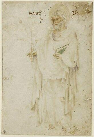 Saint Barthelemy, debout, tenant un couteau et un livre