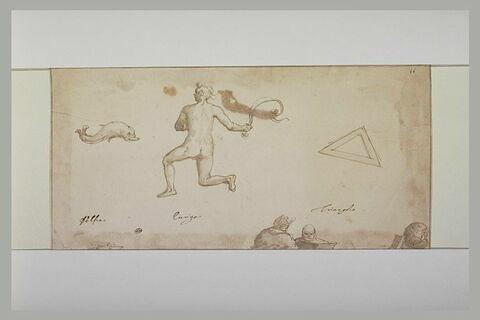 Trois signes du zodiaque : le triangle, le Dauphin, homme tenant un fouet