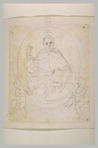 Saint tenant un livre dans un médaillon porté par deux anges