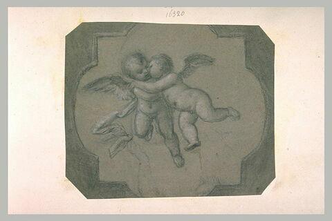 Deux anges s'embrassant, avec une main tendue vers la draperie de l'ange