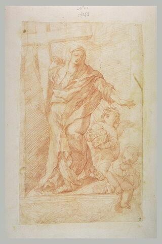 Sainte Catherine de Sienne, entourée d'anges portant une tiare