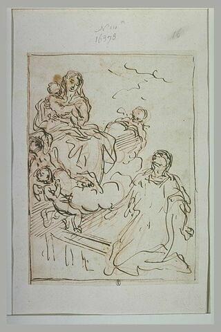 Apparition de la Vierge et de l'Enfant à une religieuse agenouillée